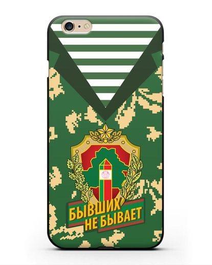 Чехол Камуфляж, тельняшка с гербом Пограничных войск РБ силикон черный для iPhone 6 Plus