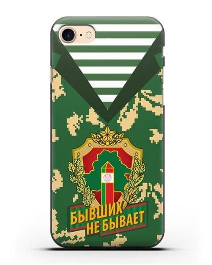 Чехол Камуфляж, тельняшка с гербом Пограничных войск РБ силикон черный для iPhone SE 2020