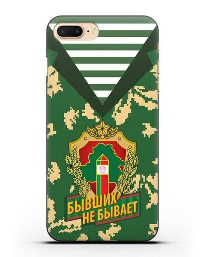 Чехол Камуфляж, тельняшка с гербом Пограничных войск РБ силикон черный для iPhone 7 Plus