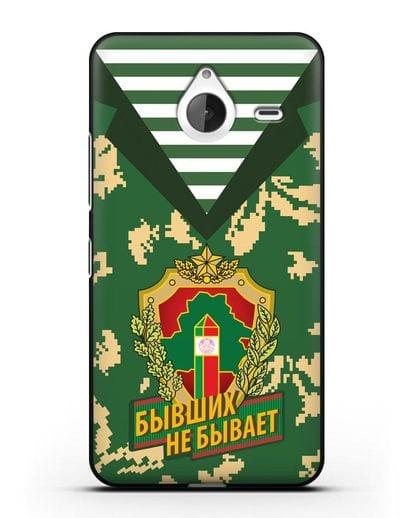 Чехол Камуфляж, тельняшка с гербом Пограничных войск РБ силикон черный для Microsoft Lumia 640 XL