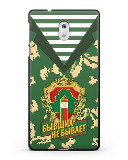 Чехол Камуфляж, тельняшка с гербом Пограничных войск РБ силикон черный для Nokia 3