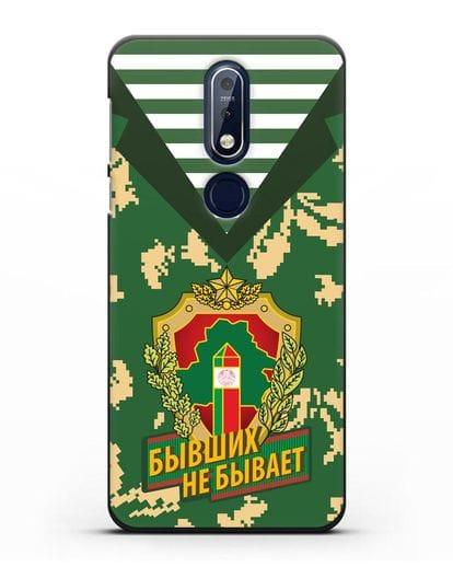 Чехол Камуфляж, тельняшка с гербом Пограничных войск РБ силикон черный для Nokia 7.1