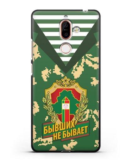 Чехол Камуфляж, тельняшка с гербом Пограничных войск РБ силикон черный для Nokia 7 plus