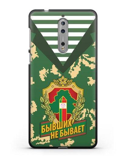 Чехол Камуфляж, тельняшка с гербом Пограничных войск РБ силикон черный для Nokia 8