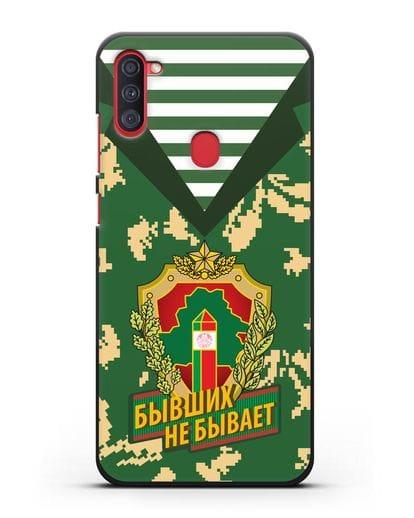 Чехол Камуфляж, тельняшка с гербом Пограничных войск РБ силикон черный для Samsung Galaxy A11 [SM-A115F]