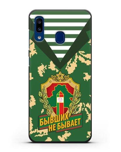 Чехол Камуфляж, тельняшка с гербом Пограничных войск РБ силикон черный для Samsung Galaxy A20 [SM-A205FN]