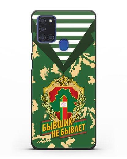 Чехол Камуфляж, тельняшка с гербом Пограничных войск РБ силикон черный для Samsung Galaxy A21s [SM-A217F]