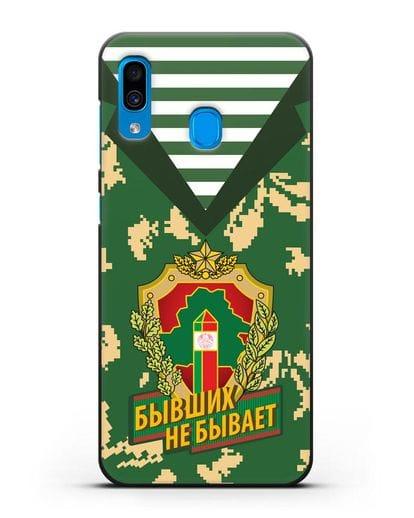 Чехол Камуфляж, тельняшка с гербом Пограничных войск РБ силикон черный для Samsung Galaxy A30 [SM-A305FN]