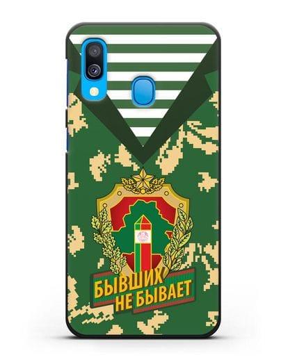 Чехол Камуфляж, тельняшка с гербом Пограничных войск РБ силикон черный для Samsung Galaxy A40 [SM-A405F]