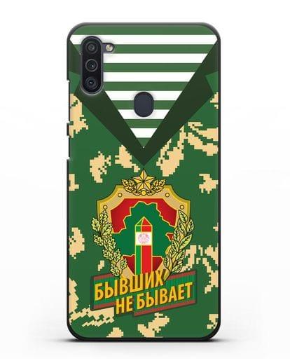 Чехол Камуфляж, тельняшка с гербом Пограничных войск РБ силикон черный для Samsung Galaxy M11 [SM-M115F]