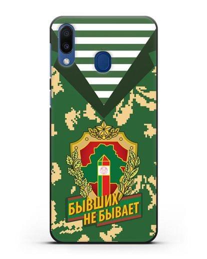 Чехол Камуфляж, тельняшка с гербом Пограничных войск РБ силикон черный для Samsung Galaxy M20 [SM-M205F]