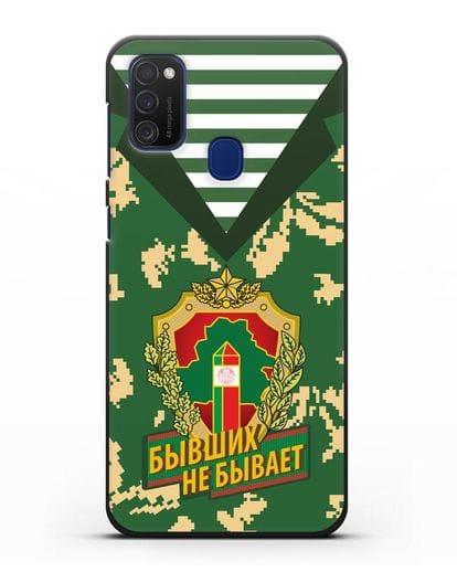Чехол Камуфляж, тельняшка с гербом Пограничных войск РБ силикон черный для Samsung Galaxy M21 [SM-M215F]
