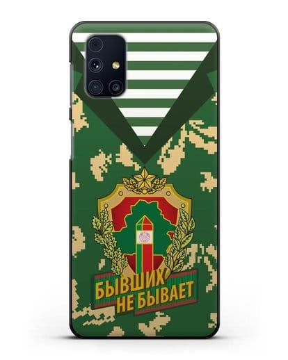 Чехол Камуфляж, тельняшка с гербом Пограничных войск РБ силикон черный для Samsung Galaxy M51 [SM-M515F]