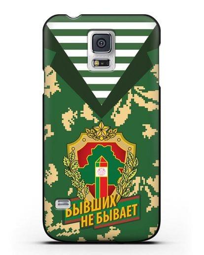 Чехол Камуфляж, тельняшка с гербом Пограничных войск РБ силикон черный для Samsung Galaxy S5 [SM-G900F]