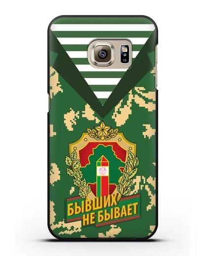 Чехол Камуфляж, тельняшка с гербом Пограничных войск РБ силикон черный для Samsung Galaxy S6 Edge Plus [SM-928F]