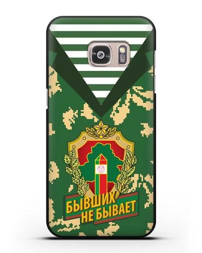Чехол Камуфляж, тельняшка с гербом Пограничных войск РБ силикон черный для Samsung Galaxy S7 [SM-G930F]