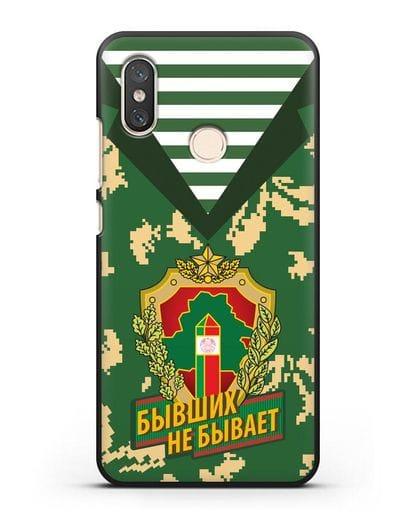 Чехол Камуфляж, тельняшка с гербом Пограничных войск РБ силикон черный для Xiaomi Mi 8