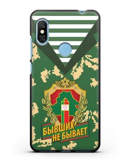 Чехол Камуфляж, тельняшка с гербом Пограничных войск РБ силикон черный для Xiaomi Redmi Note 6 Pro