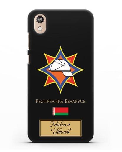 Именной чехол с эмблемой МЧС Республики Беларусь силикон черный для Honor 8S