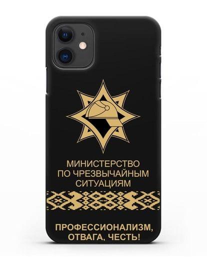 Чехол с эмблемой МЧС Республики Беларусь в золотом цвете силикон черный для iPhone 11