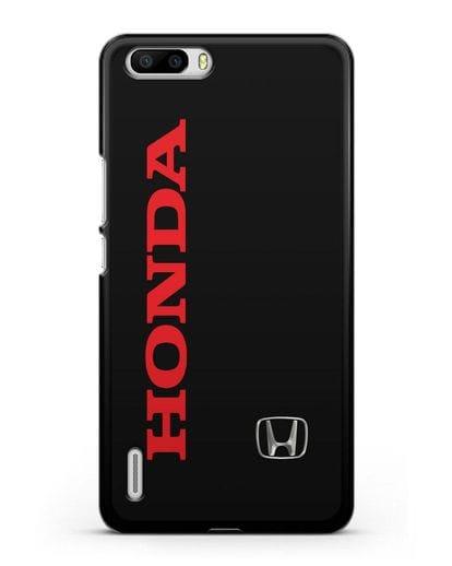 Чехол с надписью Honda и логотипом силикон черный для Honor 6 Plus