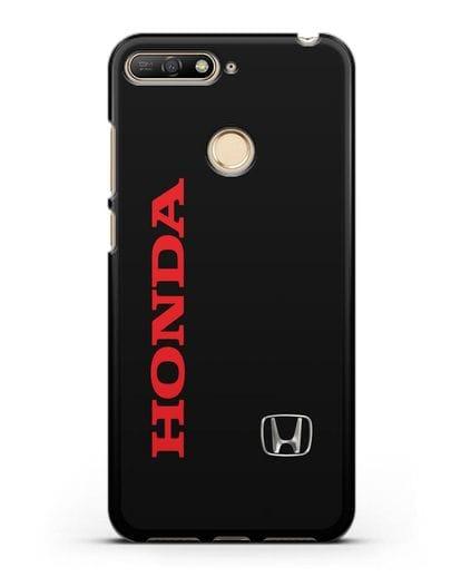 Чехол с надписью Honda и логотипом силикон черный для Huawei Y6 Prime 2018