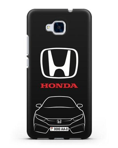 Чехол Honda с автомобильным номером силикон черный для Honor 5C