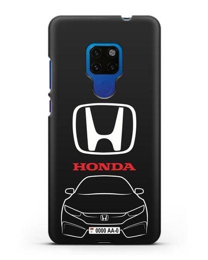 Чехол Honda с автомобильным номером силикон черный для Huawei Mate 20