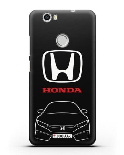 Чехол Honda с автомобильным номером силикон черный для Huawei Nova