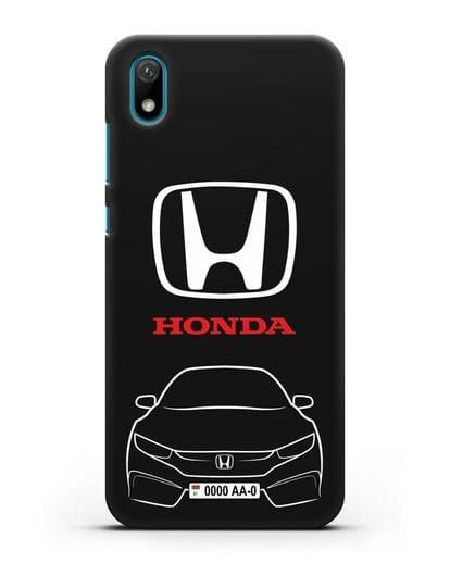 Чехол Honda с автомобильным номером силикон черный для Huawei Y5 2019