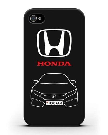 Чехол Honda с автомобильным номером силикон черный для iPhone 4/4s