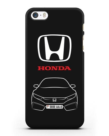 Чехол Honda с автомобильным номером силикон черный для iPhone 5/5s/SE