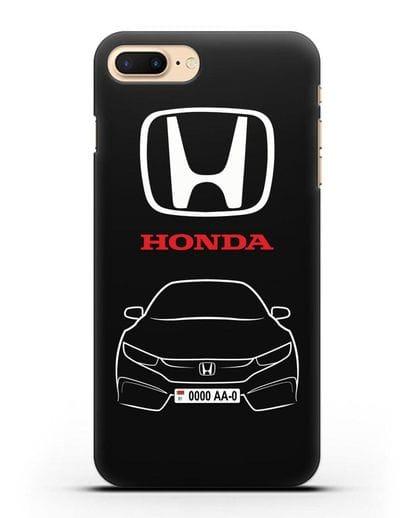 Чехол Honda с автомобильным номером силикон черный для iPhone 8 Plus