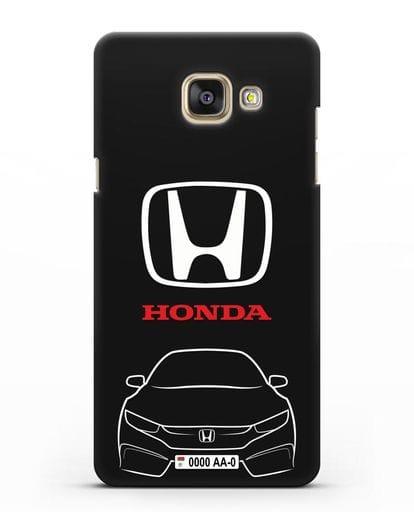 Чехол Honda с автомобильным номером силикон черный для Samsung Galaxy A7 2016 [SM-A710F]