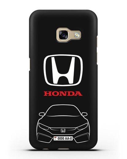 Чехол Honda с автомобильным номером силикон черный для Samsung Galaxy A7 2017 [SM-A720F]