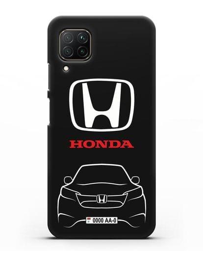 Чехол Honda с номерным знаком силикон черный для Huawei P40 lite