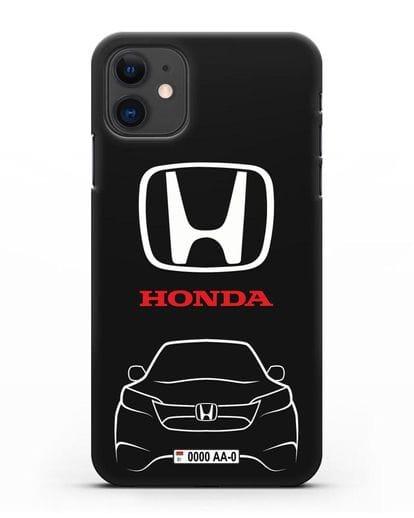 Чехол Honda с номерным знаком силикон черный для iPhone 11