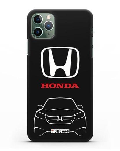 Чехол Honda с номерным знаком силикон черный для iPhone 11 Pro