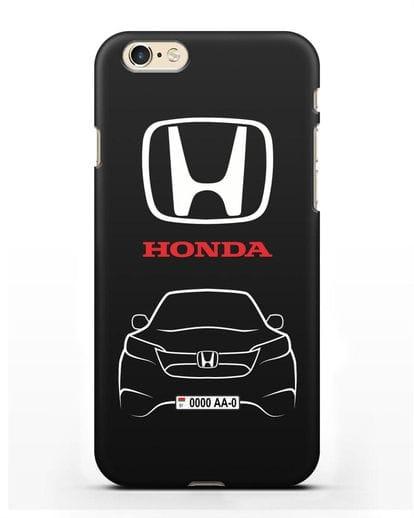 Чехол Honda с номерным знаком силикон черный для iPhone 6