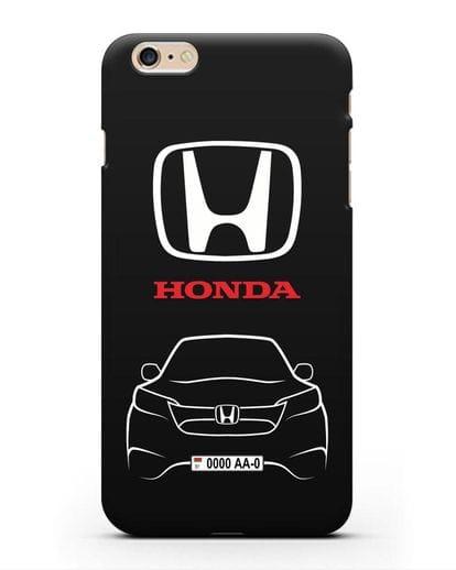 Чехол Honda с номерным знаком силикон черный для iPhone 6s Plus
