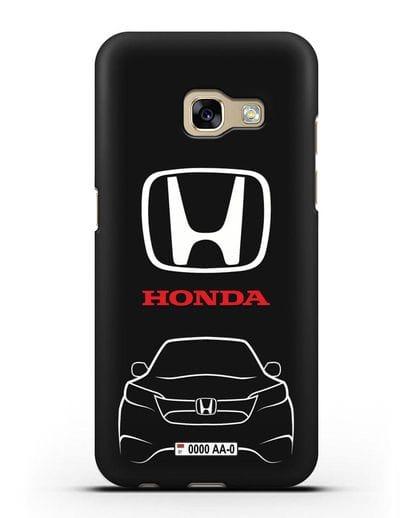 Чехол Honda с номерным знаком силикон черный для Samsung Galaxy A7 2017 [SM-A720F]