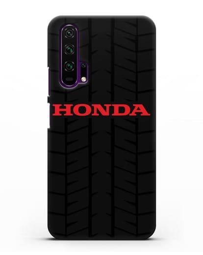 Чехол с логотипом Хонда с протектором шин силикон черный для Honor 20 Pro