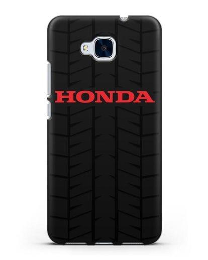 Чехол с логотипом Хонда с протектором шин силикон черный для Honor 5C