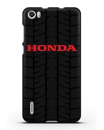 Чехол с логотипом Хонда с протектором шин силикон черный для Honor 6