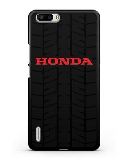 Чехол с логотипом Хонда с протектором шин силикон черный для Honor 6 Plus