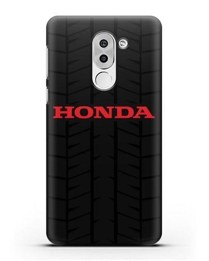 Чехол с логотипом Хонда с протектором шин силикон черный для Honor 6X