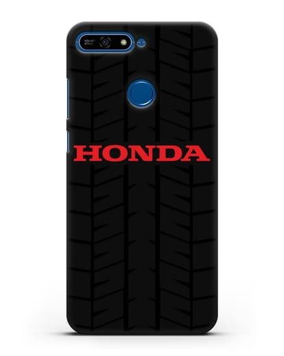 Чехол с логотипом Хонда с протектором шин силикон черный для Honor 7А Pro