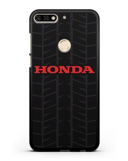 Чехол с логотипом Хонда с протектором шин силикон черный для Honor 7C