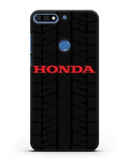 Чехол с логотипом Хонда с протектором шин силикон черный для Honor 7C Pro
