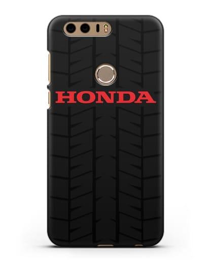 Чехол с логотипом Хонда с протектором шин силикон черный для Honor 8